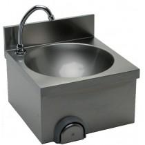 Lave main cuisine professionnelle,  avec dosseret H-30 mm, cuve  ronde, L 400 x P 400 x H 250 mm