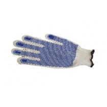 Gant de manutention surgelé, tricoté en polyester/coton, picots PVC, blanche/bleue