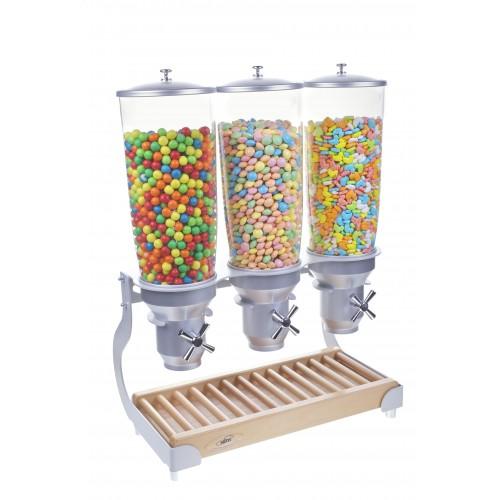 Distributeur d'aliments secs, gamme Exclusive, 5L manette en croix, 3 bols, 3 x 5 L