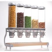 Distributeur d'aliments secs, gamme Deluxe Bols ajustables, 12.7 Kg, 5 bols x 5 L