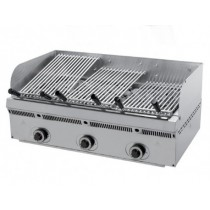 Grill à pierres de lave inclinables, L 900 x P 550 x H 250 mm, 70 Kg