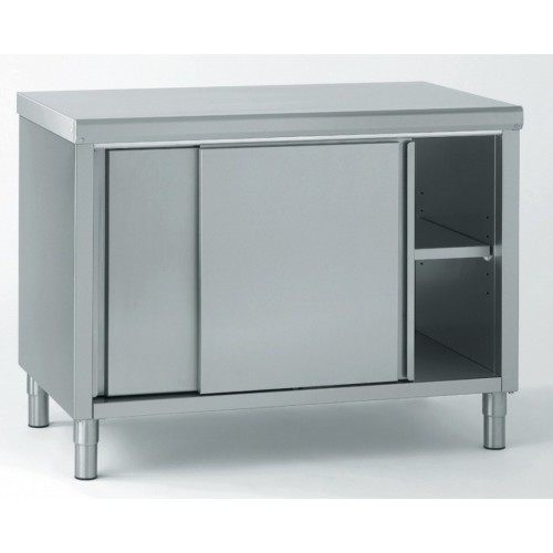 Meuble inox central porte coulissante avec caisse - Meuble de cuisine avec porte coulissante ...