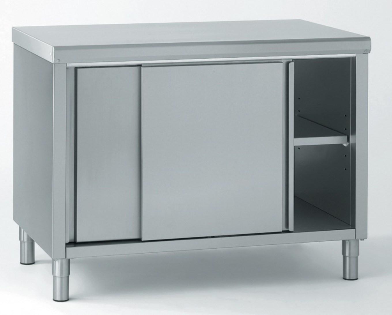 meuble inox central avec porte coulissante, largeur 700 mm avec