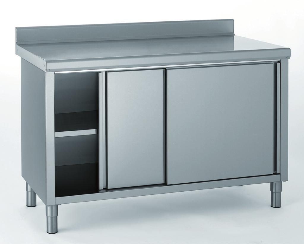 meuble inox avec dosseret, porte coulissante, largeur 700 mm avec