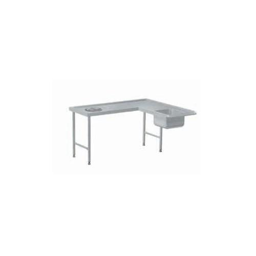 Tables de tri avec départ en angle + Tables de pré-lavage avec bac, en acier inoxydable