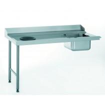 Table d'entrée standard avec bac et TVD, raccordable à droite, largeur 760 mm