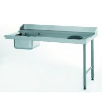 Table d'entrée avec bac et TVD, raccordable à gauche, largeur 760 mm