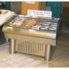 Etal à poissons, à froid ventilé, libre-service avec groupe, acier inoxydable, largeur 1140 mm