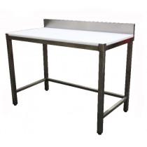 Table de découpe professionnelle, adossée, en inox AISI 304, P 600 mm