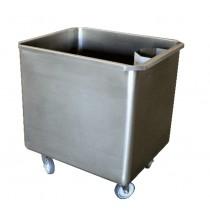 Cuve roulante avec bonde + crepine, en inox AISI 304, 180 litres