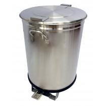 Bac à déchets inox roulant avec couvercle à pédale 105L