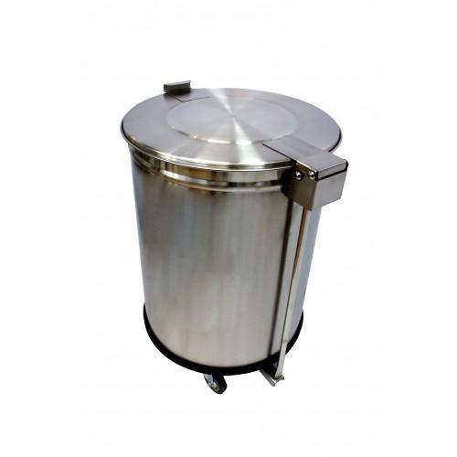 Bac à déchets inox roulant avec couvercle à pédale 50L