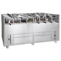 Churrasco professionnel, Grills à Charbon de Bois rotatifs, Ligne 920 Double, hauteur 1120 mm