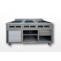 Piano induction sur mesure, 6 feux, modulaire, 4 x 6 000 W / 2 x 4 000 W