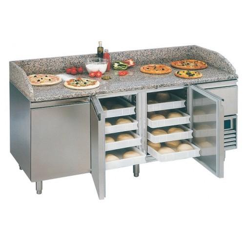 Desserte pizza, table pizza 3P + 1 TN, table sans tiroir spécial pate à pizza
