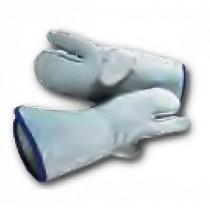 Moufles de défournement 3 doigts, en cuir gris, longueur  360 mm