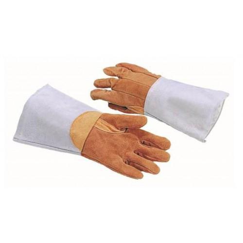 Gants de protection thermique 5 doigts, en cuir marron, longueur 380 mm
