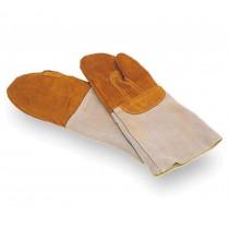 Moufles de défournement, en cuir marron, longueur  380 mm