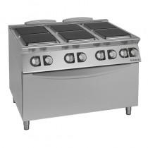 Fourneau électrique avec plaque électrique, modèle CE76QH, en acier inox 18-10, 6 plaques - s/four