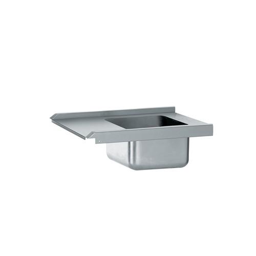 Table de pré-lavage standard avec bac, en acier inoxydable, longueur 800 mm, raccordable à droite