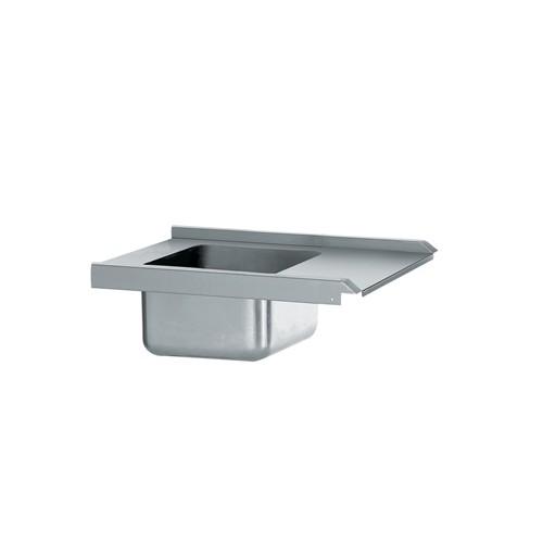Table de pré-lavage standard avec bac, acier inoxydable, longueur 800 mm, raccordable à gauche