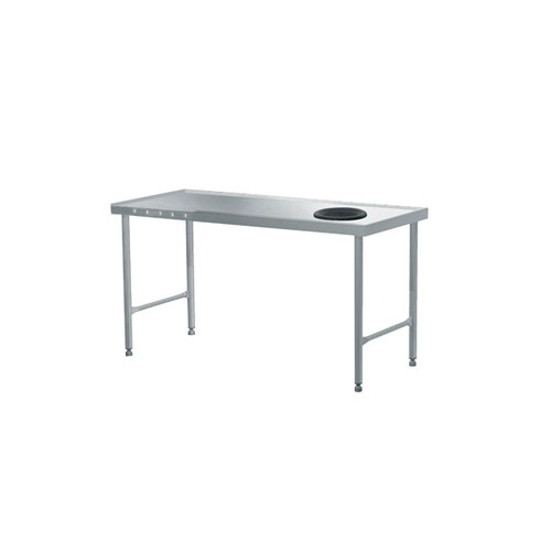 Table de tri avec départ en angle à gauche, acier inoxydable, L 1600 mm