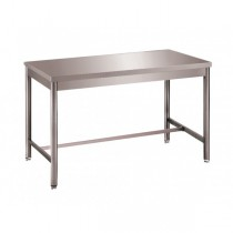 Table démontable bords droits pieds ronds, centrale, en inox ferritique, P 600 mm