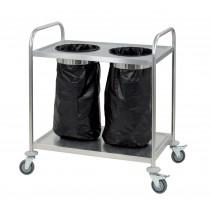 Chariot porte poubelle, en acier inoxydable, hauteur 940 mm