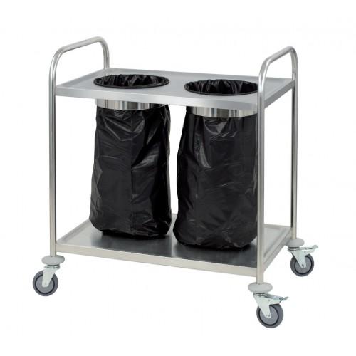 Chariot porte poubelle, en inox, hauteur 940 mm