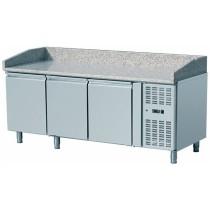 Table à pizza, -2 + 8 °C, 390 L, 210 W, surface en granit, 2 portes