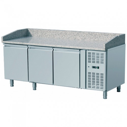 Table à pizza, -2 + 8 °C, 580 L, 400 W, surface en granit, 3 portes