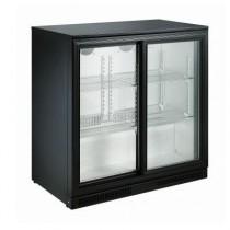 Desserte réfrigérée arrière de bar, 2 portes coulissantes vitrées, 228 L, noir