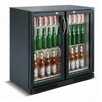 Desserte réfrigérée arrière de bar, 2 portes battantes, 228 L, noir