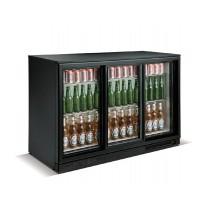 Desserte réfrigérée arrière de bar, 3 portes battantes, 338 L, noir