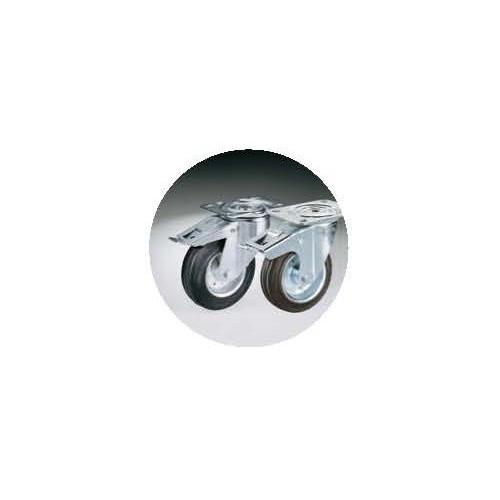 4 Roulettes Ø 125 mm chape inox (2 avec freins, 2 sans frein)