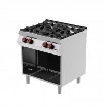Cuisinière à gaz, 4 brûleurs, sans porte, profondeur 700 mm