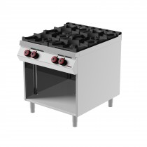 Cuisinière à gaz, avec 4 brûleurs, sans portes, profondeur 900 mm