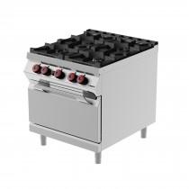 Cuisinière à gaz, avec 4 brûleurs, portes battantes, profondeur 900 mm