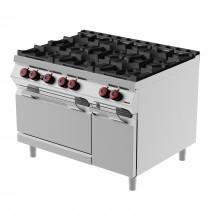 Cuisinière à gaz, avec 6 brûleurs, portes battantes, profondeur 900 mm