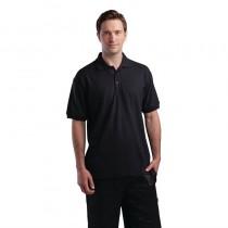 Polo unisexe noir, polyester-coton