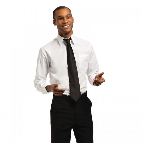 Chemise unisexe Uniform Works manches longues, blanche