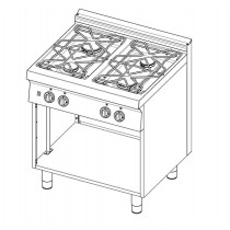 Cuisinière à gaz, avec 4 brûleurs, sans portes, profondeur 720 mm