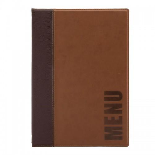 Protège-menu contemporain Securit marron clair, cuir synthétique
