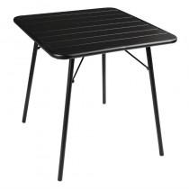 Table à lattes carrée en acier, Bolero, noire