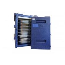Coffre isotherme 8 niveaux GN1/1, Bleu SANS poignée inox, 100 L
