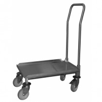 Embase roulante, chariot ABS, 2 roues freinées et timon