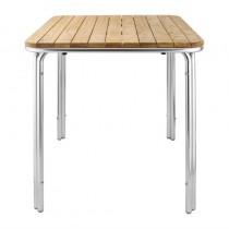 Table carrée en frêne et aluminium Bolero, 700 mm