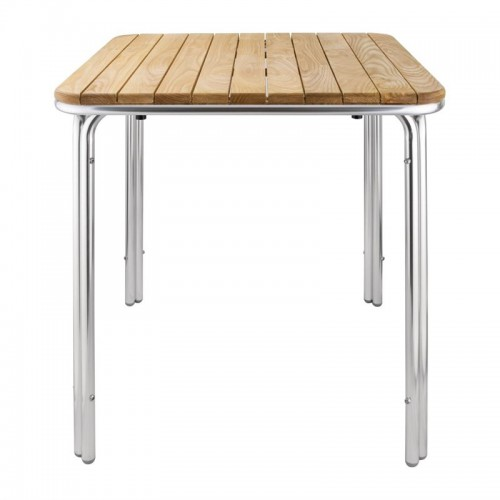 Table Carree En Frene Et Aluminium Bolero 700 Mm Stl Sarl