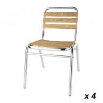 Chaises bistro frêne et aluminium Bolero, empilables, hauteur d'assise 435 mm, lot de 4