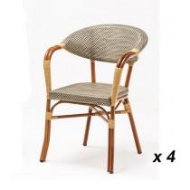Fauteuils en aluminium et textilène Bolero, empilables, hauteur d'assise 450 mm, lot de 4